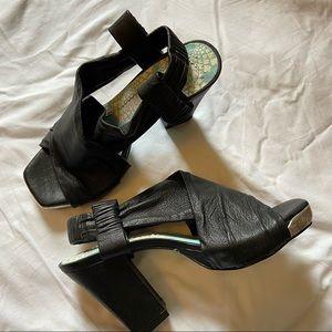 Irregular Choice Leather Square Toe Heels
